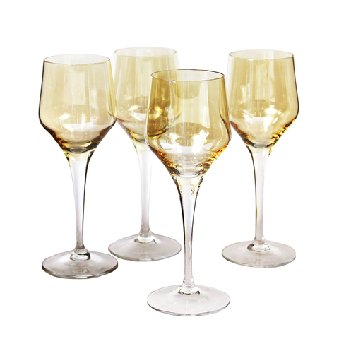 Iridescent Wine Glasses, Amber Yellow Crystal, Vintage Stemware