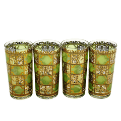 Set/4 Collins Bar Glasses, Culver 'Prado' Green