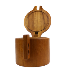 Danish Modern Teak Ice Bucket by Krogh. Wood Hinged Lid.