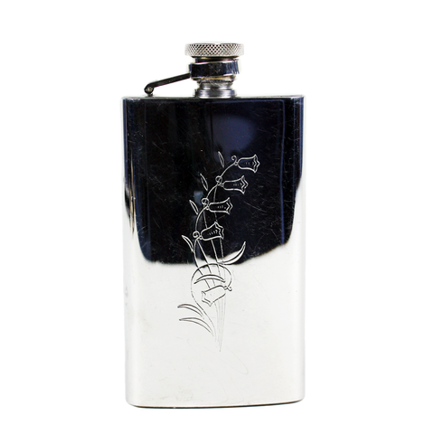 Vintage Purse Flask, Stainless 4-oz, Engraved Bluebell Pattern