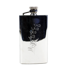 Stainless Vintage Purse Flask. Engraved Bluebell Front. 4oz Capacity.