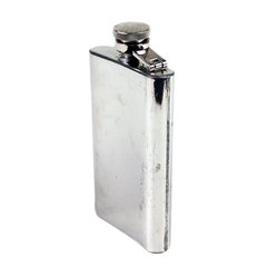 Vintage Stainless Purse Flask. Back View. 4oz Capacity.