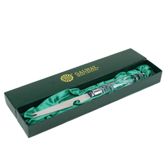 Crystal Bar Knife. Green Satin Lined Gift Box.