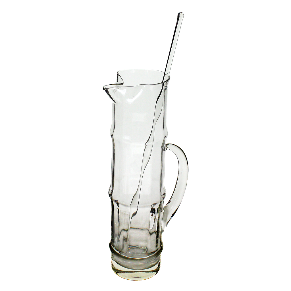 Cocktail Pitcher, Tall Bamboo Silhouette, Clear Blown Glass, Hollywood Glam Style
