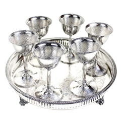 Cocktail Shaker Bar Set, Silver Cordial Goblets, Engraved Tray, Art Deco