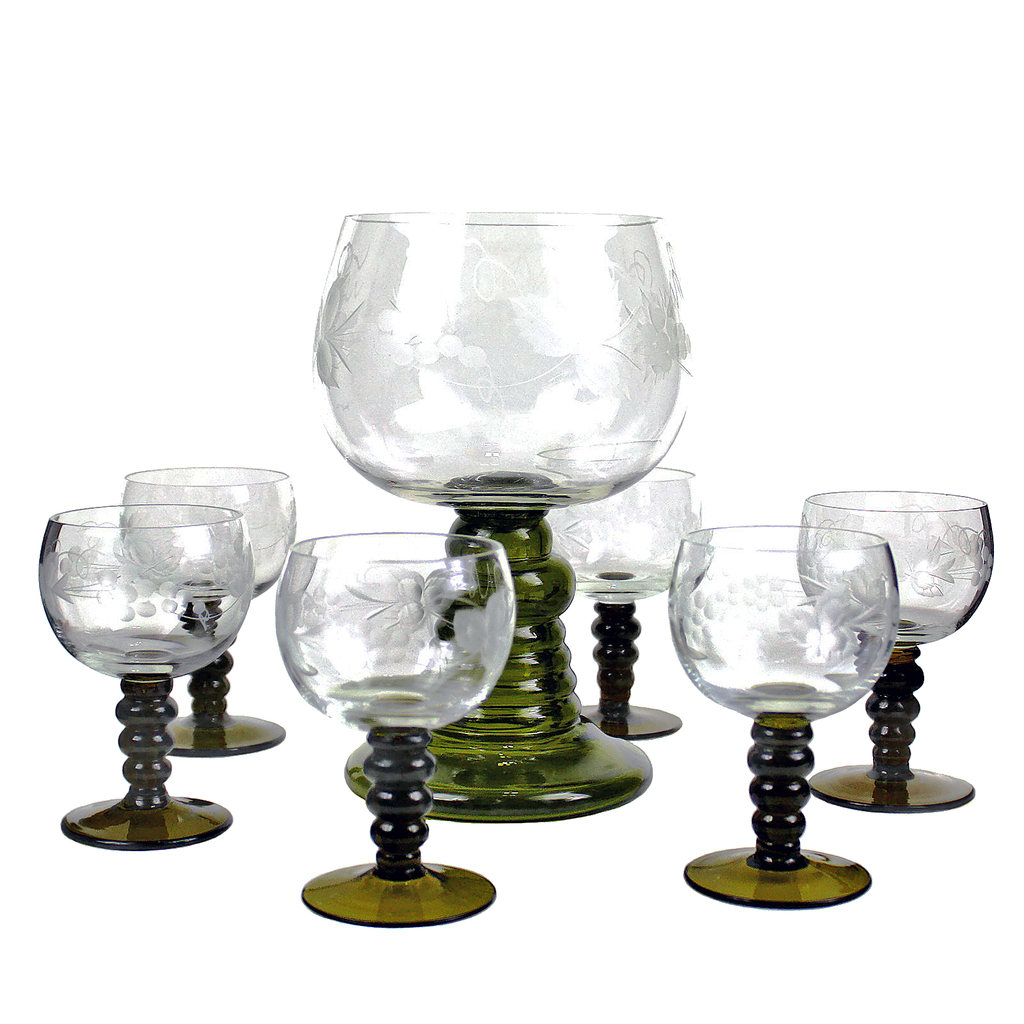 Vintage Austrian Roemer Wine Glass Set. Green Coil Stems with Etched Grape Bowls.