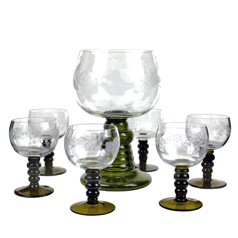 Römer Wine Glass Set, Hand Etched Austrian Crystal, Green Stem Wine Glasses