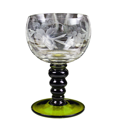 Vintage Austrian Roemer Wine Glass with Green Coil Stem and Etched Grape Pattern.