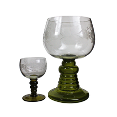 Vintage Austrian Roemer Wine Glass and Matching Large Roemer Bowl.
