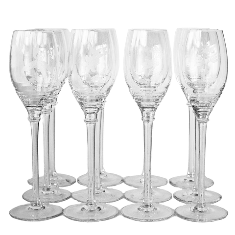 Etched Crystal Champagne Glasses, Four Assorted Floral Patterns