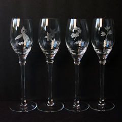 Assorted Floral Patterned Stemware