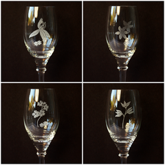 Etched Floral Stemware from Audrey Would! Vintage Home.