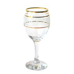 Vintage Wine Glass. Gold Rim and Rings. White Filigree Pattern.