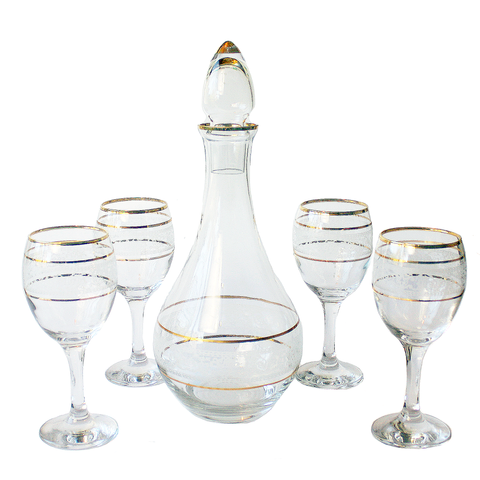Decanter/Wine Glass Set, White Filigree, Gold Bands