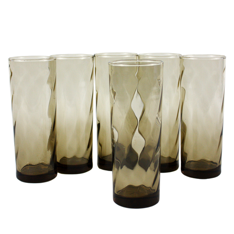 Tall Collins Bar Glasses, Smokey Brown Optic Swirl, Vintage Barware
