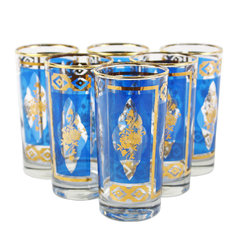 Six royal blue vintage Collins bar glasses with gold rims and diamond pattern. Mid-Century barware made by Dominion Glass Company.