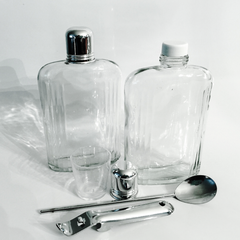 Double Flask Travel Set, Leather Case Vintage Bar Set