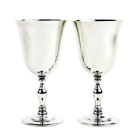 Vintage Silver Goblets, Made in Spain, Red and White Wine Stemware