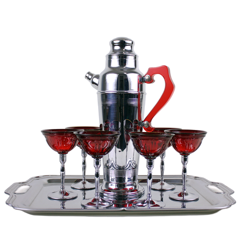 Chrome Cocktail Shaker Set, Ruby Glass Stemware, Serving Tray
