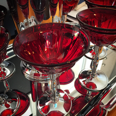 Art Deco Ruby Glass Stainless Cocktail Stemware.