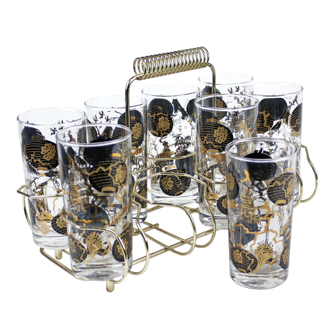Brass Bar Caddy Black Gold Highball Glasses Mid Century