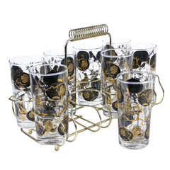 Mid Century Bar Glass Set. Brass Caddy. Gold Black Asian Theme Glasses.
