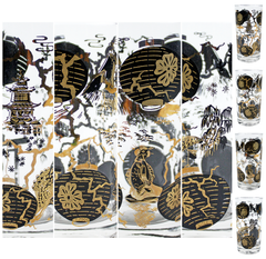 Gold Black Collins Style Bar Glasses. Asian Motif Close-Ups.