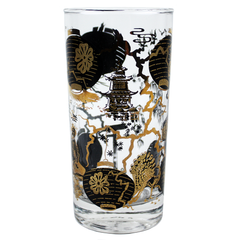 Vintage Bar Glasses. Black Gold Paper Lantern Motifs.