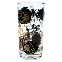 Black Metallic Gold Bar Glasses. Close up Asian Scene.