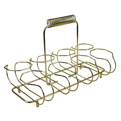 Gold Wire Carrier. Vintage Brass Bar Glass Caddy.