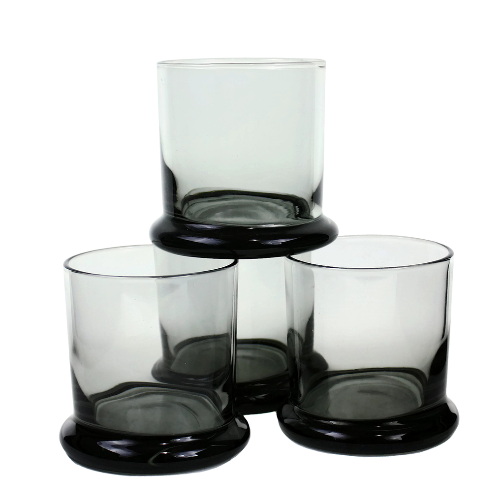 Mid Century Whiskey Glasses with Saucer Base. Smokey Black glass. Made by PEEDEE.