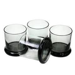 Saucer Base Whiskey Glasses. Smokey Black Glass.