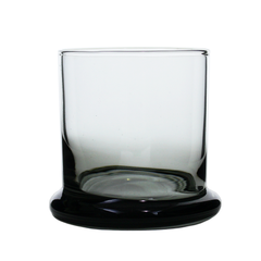 Mid Century Whiskey Glass. Smokey Black with Saucer Base.