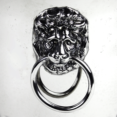 Lion Head Ring Handle of Vintage Champagne Bucket made by Elegance. Silver Plate on Brass.