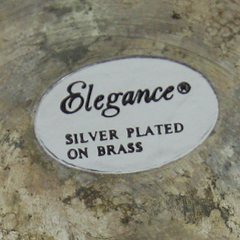Original Elegance Label on Vintage Champagne Bucket verifying Silver Plated on Brass finish.
