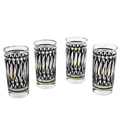Vintage Bar Glasses. Black Metallic Gold Geometric Pattern.