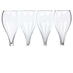Hand Blown Teardrop Shaped Bowls of Hollow Stem Champagne Flutes.