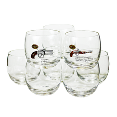 Vintage Roly Poly Glasses set includes 6 clear glasses and 2 feature glasses with overlays of collectible pistols from the Adams Antique Gun collection.