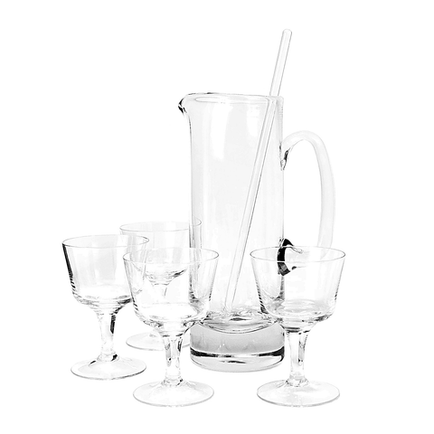 Crystal Cocktail Pitcher, Stirring Rod & Stemware Set