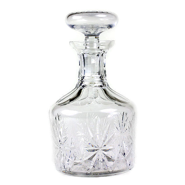 Vintage Lead Crystal Decanter. Hand Cut Pattern.