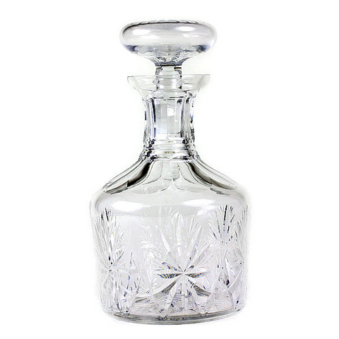 Vintage Lead Crystal Decanter, Hand Cut Pattern