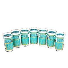 Mid-Century Collins Bar Glasses, Turquoise, 22k Gold, Set of 7