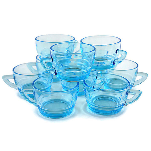 Art Deco Punch Cups, Turquoise Glass, Set of 10 Coffee Mugs