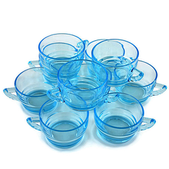 Set of 10 Art Deco Party Mugs. Aqua Blue Punch Cups.