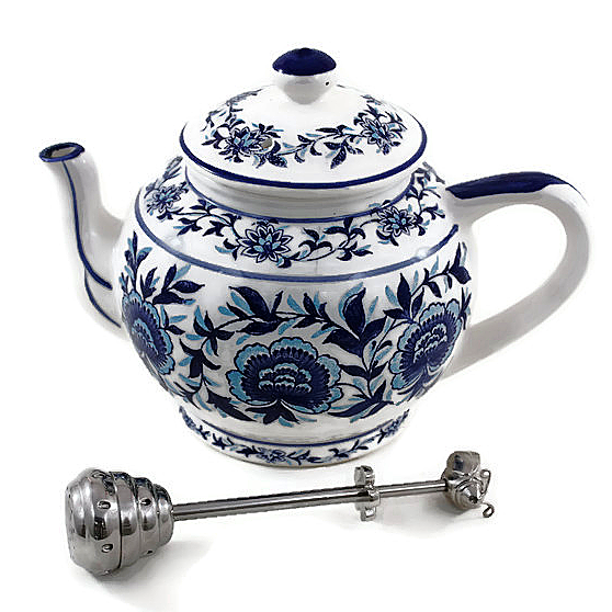 Porcelain Teapot and Honey Infuser, Blue and White Floral Motif