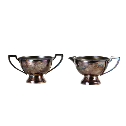 Art Deco Cream and Sugar Set, Silver Plate