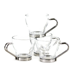 Vintage Italian Espresso Cups, Vitrosax, Chrome Hairpin Handles, Glass Cup