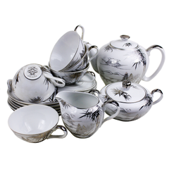 White Porcelain China Tea Set. Kutani Bunji Japan.