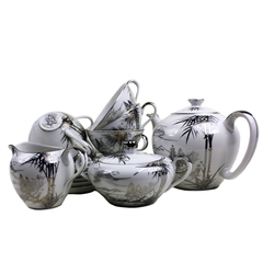 Kutani China Tea Set. Hand Painted Silver Bamboo Pattern.