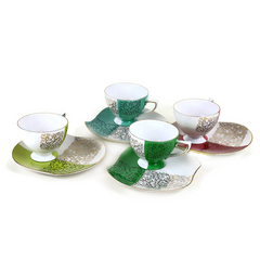 Vintage Teacups and Snack Saucers. Art Deco. Gold Filigree Pattern. Multi Coloured Set.